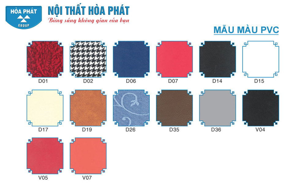 Bảng Mẫu Mầu PVC Hòa Phát