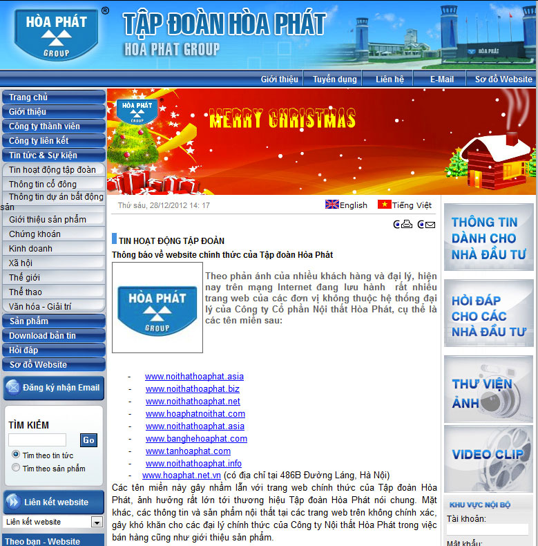 Website không thuộc hệ thống đại lý Nội Thất Hoà Phát